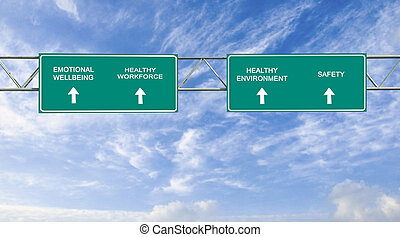 road sign to emotional wellbeing