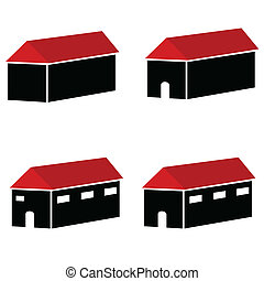 house with red roof vector illustra