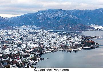Lake Kawaguchiko Aerial - Aerial View of Lake Kawaguchiko at...