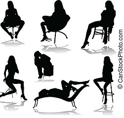 hot girls in chair vector silhouettes