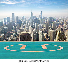 Chicago aerial - Aerial view of Chicago city USA with...