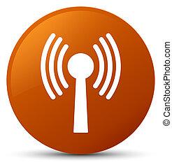 Wlan network icon brown round button - Wlan network icon...