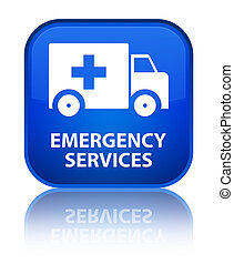 Emergency services special blue square button - Emergency...