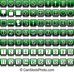 icons set two green illustration