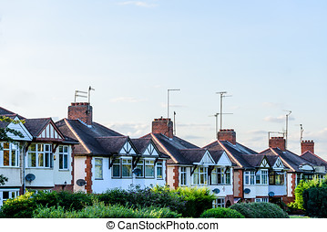Evening View of Row of Typical English Terraced Houses in Northampton
