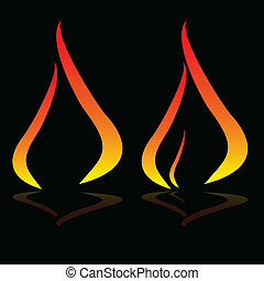 illustration of the flame on a black background