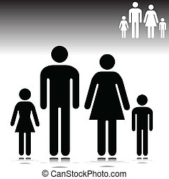 illustration of family vector silhouettes