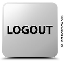 Logout white square button - Logout isolated on white square...