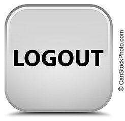 Logout special white square button - Logout isolated on...