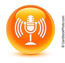 ガラス状, mic, ラウンド, オレンジ, ボタン, アイコン