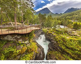 Touristic waterfall viewing platform at Gudbrandsjuvet in...
