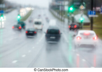 車, motion., 引っ越し, ぼんやりさせられた, 滑りやすい, rain., ぬれた, の間, 道