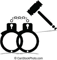 Justicia, o, prisión, vector, Illustrati