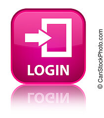 Login special pink square button - Login isolated on special...