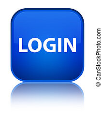 Login special blue square button - Login isolated on special...