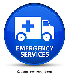 Emergency services special blue round button - Emergency...
