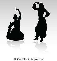 indian woman dancing vector silhouettes