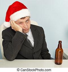triste, homem, sofrimento, ressaca, após, Natal