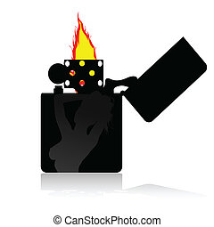 lighter with a girl on it illustration