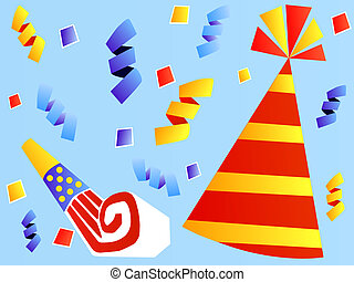 Colorful Party Hat and Party Favor - Striped Red and Yellow...