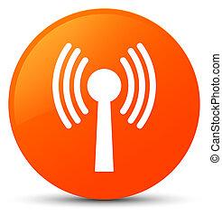 Wlan network icon orange round button - Wlan network icon...