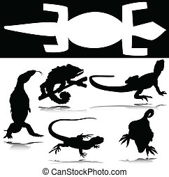 lizard group vector silhouettes
