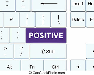 Positive purple keyboard button - Positive isolated on...