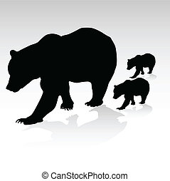 mama bear with their young vector silhouettes