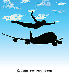 man and a plane in flight vector silhouettes