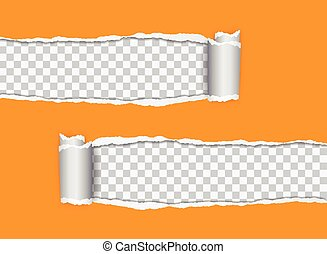 Set vector realistic illustration of orange torn paper with rolled edge on transparent background