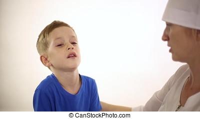 The little boy has severe cough