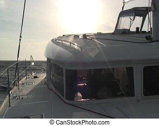 Catamaran cockpit - Cockpit filmed on the starboard of a...