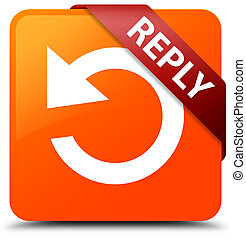 廣場, 按鈕, 紅色箭頭, 回答, 橙, 角落, (rotate, icon), 帶子