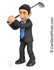 3D Businessman playing golf - 3d business people...