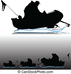 man in boat vector silhouettes