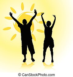 man and woman with arms raised toward the sun black...