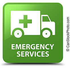 Emergency services soft green square button - Emergency...