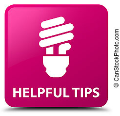 Helpful tips (bulb icon) pink square button - Helpful tips...