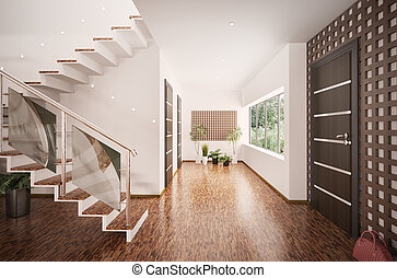 Interior of modern entrance hall 3d render - Interior of...