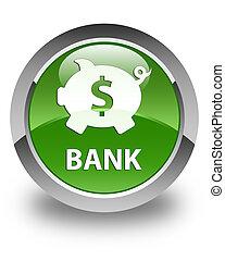 Bank (piggy box dollar sign) glossy soft green round button