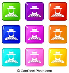 Farmer set 9 - Farmer icons of 9 color set isolated...