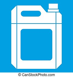 Plastic jerry can icon white isolated on blue background...