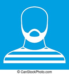 Bearded man in prison garb icon white isolated on blue...