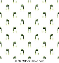 Green hat pattern seamless repeat in cartoon style...