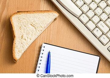 break in office . ham sandwich