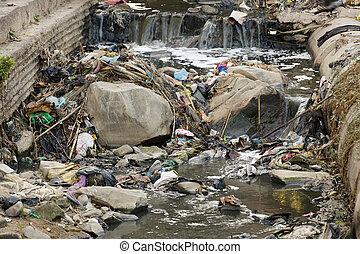 poluição, Asiático, Rio
