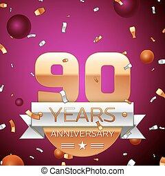 Realistic Ninety Years Anniversary Celebration Design....