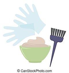 Hair dye tools on white background, cartoon illustration....