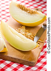 cut honeydew melon