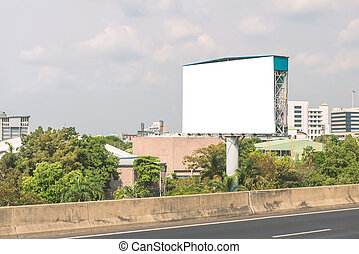 Blank billboard or road sign ready for new advertisement.